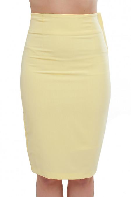 Юбка желтая с молнией сбоку Деловая женская одежда фото