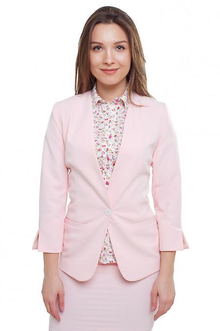 Жакет без воротника бледно-розовый Деловая женская одежда фото