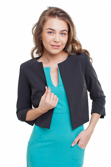 Жакет короткий черный Деловая женская одежда фото