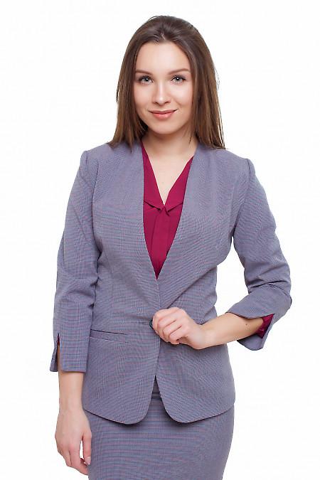 Жакет в мелкую бордово-синюю лапку Деловая женская одежда фото