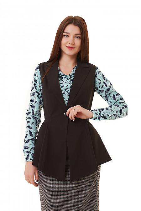 Жилет удлиненный черный с баской Деловая женская одежда фото