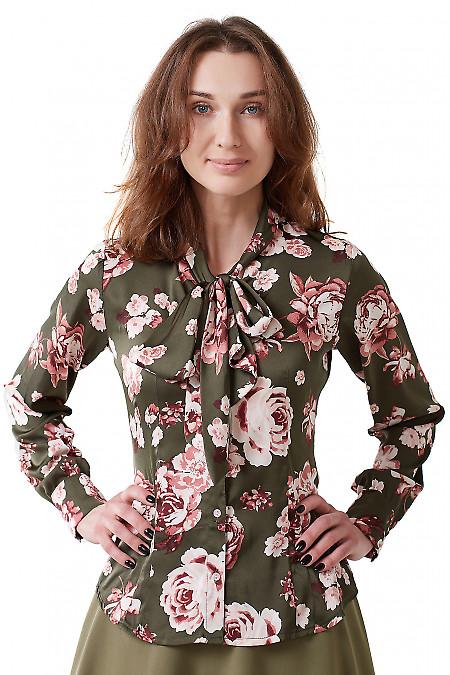 Блузка хаки с бантом Деловая женская одежда фото