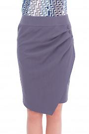 Юбка серая с защипами и пуговицами Деловая женская одежда
