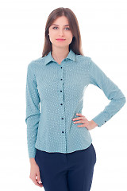 Блузка бирюзовая с синими точками Деловая женская одежда фото