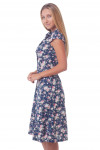 Купить платье синее в розы с воротником Деловая женская одежда