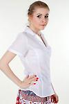 Фото Блузка классическая белая с коротким рукавом Деловая женская одежда