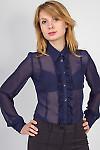 Фото Блузка темно-синяя с рюшью Деловая женская одежда