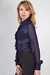 Фото Блузка темно-синяя с рюшью вид сбоку Деловая женская одежда