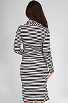 Фото Платье трикотажное в полоску вид сзади Деловая женская одежда