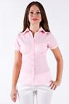 Фото Блузка из хлопка бледно-розовая Деловая женская одежда