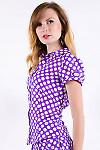 Фото Блузка в горох сиреневая Деловая женская одежда