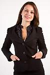 Фото Жакет теплый с круглым вырезом Деловая женская одежда