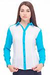 Блузка белая с голубым воротником Деловая женская одежда