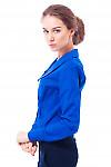 Блузка синяя с острым воротником Деловая женская одежда