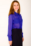 Фото Блузка синяя со складочками по планке Деловая женская одежда