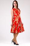 Фото Платье летнее красное в цветы Деловая женская одежда