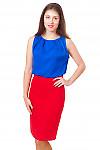 Топ синий атласный Деловая женская одежда