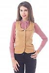 Купить жилет из бежевого вельвета Деловая женская одежда
