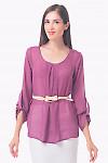 Купить блузку сиреневую с защипом и длинным рукавом Деловая женская одежда