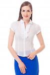 Блузка белая в полоску с рюшем Деловая женская одежда