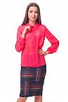 Коралловая блузка с бантовой складкой впереди Деловая женская одежда
