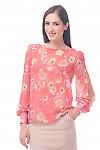 Фото Блузка коралловая в цветы Деловая женская одежда