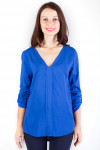 Фото Блузка с удлиненной спинкой синяя Деловая женская одежда