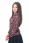 Купить блузку синюю в цветочек с планочкой Деловая женская одежда