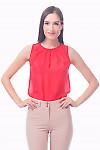 Фото Топ коралловый с защипами Деловая женская одежда
