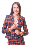 Жакет синий в рыжую клетку Деловая женская одежда