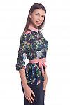 Купить блузку синюю с бежевым воротником. Деловая женская одежда