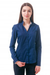 Фото Блузка синяя с воротником стойкой Деловая женская одежда