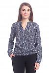 Блузка синяя в белые огурцы Деловая женская одежда