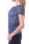 Купить блузку синюю в горошек с рукавчиком Деловая женская одежда