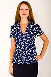Фото Блузка синяя в ромашки Деловая женская одежда