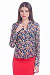 Фото Блузка синяя в розы из шифона Деловая женская одежда