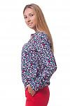 Купить блузку в цветочек с резинкой по бокам Деловая женская одежда