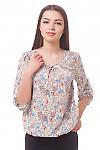 Блузка в красные маки на резинке Деловая женская одежда