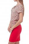 Купить блузку в красный цветочек с бантиком Деловая женская одежда