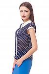 Купить блузку в крупный горох с белой планкой Деловая женская одежда
