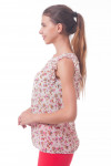 Купить блузку в розовые цветы с рюшем Деловая женская одежда