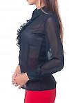 Купить черную блузку с рюшем Деловая женская одежда