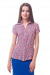 Классическая блузка в оранжево-синий цветок Деловая женская одежда