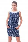 Платье синее в горошек с карманами Деловая женская одежда