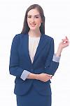 Фото Жакет темно-синий удлиненный с полосатой манжетой Деловая женская одежда