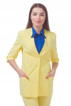 Жакет желтый удлиненный с коротким рукавом Деловая женская одежда