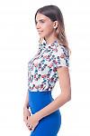 Купить блузку белую в цветочек с защипами Деловая женская одежда фото