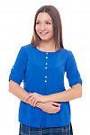 Блузка электрик со встречной складкой Деловая женская одежда фото
