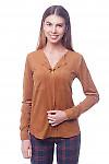 Блузка коричневая с карманами на груди Деловая женская одежда