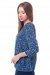 Купить блузку синюю с капелькой Деловая женская одежда фото